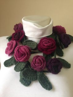 Crocheted Rose Scarf Mother's Day Gifts Crocheted by Yellowcrochet