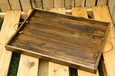 Reclaimed Pallet Wood Furniture - Espresso Stained Rustic Serving Tray