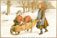 Papai Noel chega no carrinho de mão, cartão de Natal, de época,  inglês.