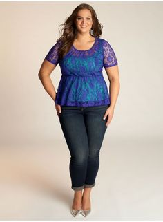 Florence Peplum Plus Size Top in Cobalt Blue - Just In by IGIGI