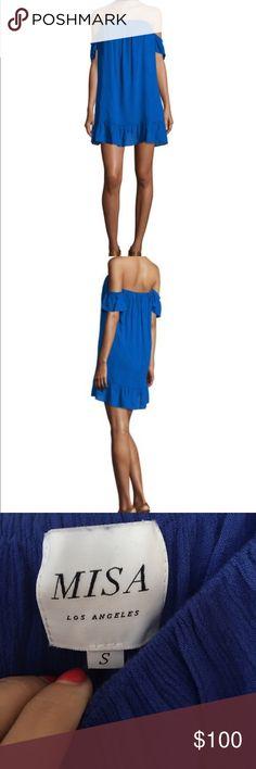 Misa LA blue off the shoulder dress Off the shoulder dress with ruffle detail, Misa LA from Neiman Marcus Neiman Marcus Dresses Mini
