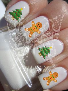 Christmas Xmas Gingerbread man Christmas Tree Nail Art Water Decals Nail Transfers Wraps