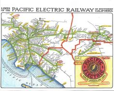 Pacific Electric Railway Map, Red car system - PRINT - Limited Edition Run of 50 Not Framed Cities In Los Angeles, Train Map, San Bernardino County, Riverside County, Light Rail, Train Tracks, Colored Pencils, Trains, Maps