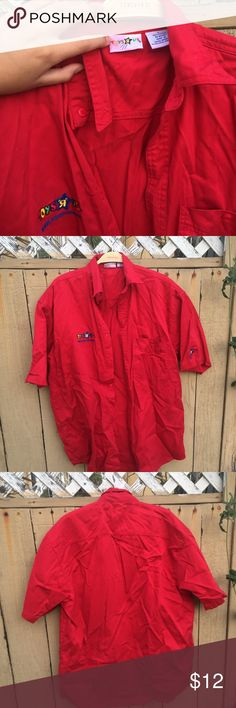 Toys r us employee work shirt Toys R Us Size small  Red Button Front Employee Shirt Short Sleeve Work Shirt with embroidered on the front Toysrus Shirts Casual Button Down Shirts