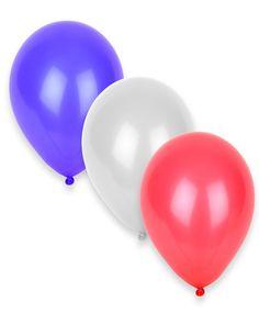 50 Ballons tricolores bleus, blancs, rouges : Ce lot se compose de 50 ballons de baudruche. Tricolores, ces ballons sont aux couleurs du drapeau français : bleu, blancs et rouges.Arborez fièrement les couleurs de la France pour le...