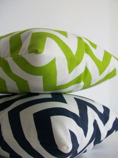Green and Navy Chevron Pillows from Cargoh.