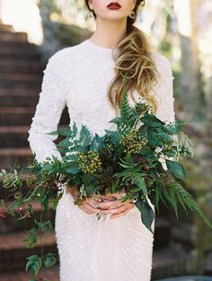 Whimsical Greenery Bouquet for a Winter Wedding