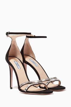 Shop Prada Black Crystal-Embellished Suede Sandals for Women Womens Espadrilles Wedges, Prada, Strappy Sandals, Women Sandals, Open Toe Shoes, Dansko Shoes, Black Crystals, Casual Boots, Designer Shoes
