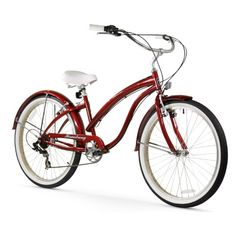 Firmstrong Bella Fashionista 26 in. 7 Speed Beach Cruiser Bicycle - Long distance rides and steep hills are no problem for the super-stylish Firmstrong Bella Fashionista 26 in. Beach Cruiser Bikes, Cruiser Bicycle, Beach Cruisers, 26 Beach, Mountain Bikes For Sale, Bike Accessories, Touring, Victorious, Rouge