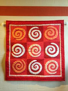 Patchwork, Quilt, rot,