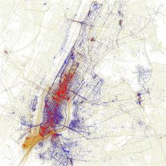 Locals vs. Tourists: Eric Fischer's creative guide to avoiding tourists in the city. red = tourists, blue = locals & yellow = unknown.