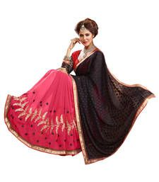 Buy Pink and Coffee embroidered Georgette saree with blouse georgette-saree online