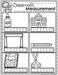 Fun Classroom Measurement Worksheets for Kindergarten math. #kindergartenmath #measurement #mathworksheets #kindergartenworksheets #measurementworksheets