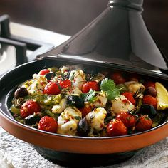 A Lakeland recipe for Tagine of monkfish, potatoes, cherry tomatoes & black olives, happy cooking!