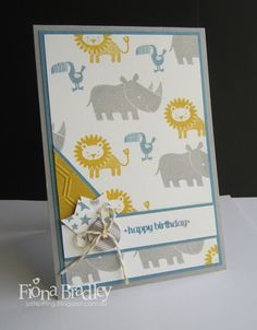 Zoo babies - happy birthday - Stampin Up - Just Spiffing by Fiona Bradley