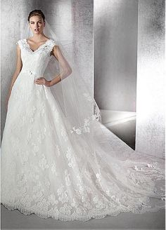 Fabulous Tulle V-neck Neckline A-line Wedding Dresses with Lace Appliques