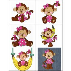 """Miko"" +FREE Sample! If you and your little one love monkeys, this set's for you! Miko the monkey is one cute, little girl monkey that would love for you to swing on by and pick this banana bunch up!"