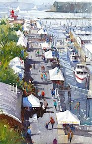Everett Marina by Ron Stocke. Love the style of his watercolor paintings.