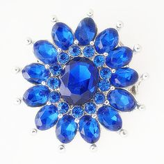 Sapphire Blossom Statement Metal Button Bead Noosa Snap On Charm Chunk – Your Charmed Story