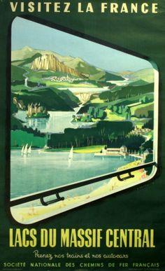Visitez la France Lakes of Massif Central, 1954 - original vintage poster by Jean Jacquelin listed on AntikBar.co.uk