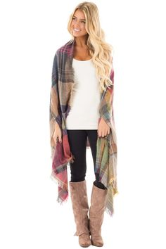 Lime Lush Boutique - Fuchsia and Lavender Plaid Cardigan with Fringe Detail, $39.99 (https://www.limelush.com/fuchsia-and-lavender-plaid-cardigan-with-fringe-detail/)