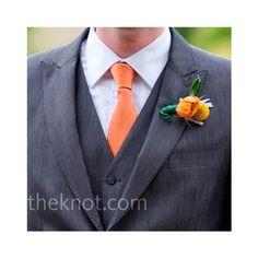 Grey Suit with Orange Tie found on Polyvore