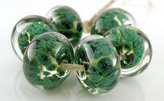 Lime Aventurine Encased SRA Lampwork Handmade Artisan Glass Donut/Round Beads Made to Order Set of 6 10x15mm by madeforyoulampwork on Etsy https://www.etsy.com/listing/203026721/lime-aventurine-encased-sra-lampwork