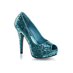 Women's Funtasma Twinkle 18G ($54) ❤ liked on Polyvore featuring shoes, pumps, turquoise, glitter peep toe pumps, low heel peep toe pumps, glitter pumps, platform shoes and open toe pumps