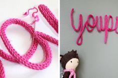comment faire des lettres ou formes en tricotin !