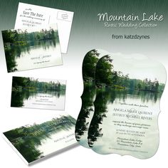 Rustic Mountain Lake Wedding Invitation and Suite, perfect for a lakeside wedding, riverside wedding or mountain wedding ... from katzdzynes on Zazzle
