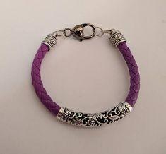 Leather Tube Bracelet-Brown Or Black or Purple Large heart Clasp Faux  Leather-Men or Women Bracelet-Heart Hors Cross Hope Aware Ribbon Charm ef62d8a2d62