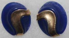 Vintage Avon Oval Earrings Goldtone and Navy Blue Pierced
