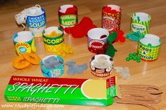 DIY contents for Melissa & Doug tinned and carton food. Preschooler roleplay