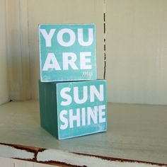 You are my Sunshine Vintage Wooden Blocks Blue 2 3/4in. $20.00, via Etsy.