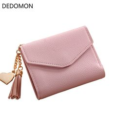 2017 Fashion Women Girl Mini Tassel Short Wallet Coin Purse Credit Card  Holder Organizer Pocket Classic Solid New 2 Fold Type d076c7e0d6978