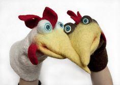 Designer felt puppets via EllenbergDesign (hand and finger sized) Glove Puppets, Felt Puppets, Puppets For Kids, Hand Puppets, Felted Wool Crafts, Felt Crafts, Wet Felting, Needle Felting, Puppet Tutorial