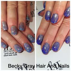 Gel II manicure rip tide with ombre magpie glitters Lola, emily and Ameria