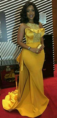 Plus Size Sexy Mermaid 2018 Joselyn Dumas Prom Dresses African Scoop Crystal Beaded Satin Celebrity Dresses Women Yellow Evening Gowns African Prom Dresses, African Wedding Dress, Latest African Fashion Dresses, African Print Fashion, African Dress, Yellow Evening Gown, Black Evening Dresses, Cheap Evening Dresses, Evening Gowns