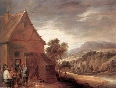 'Before the Inn', Oil On Panel by David The Younger Teniers (1610-1690, Belgium)