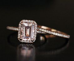Pink Morganite Engagement Ring Bridal Ring Set in 14k Rose