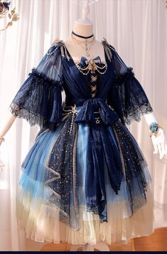 Fantasy Mirror -Under the Starry Sky- Vintage Classic Lolita OP Dress Fantasy Mirror – Unter dem Sternenhimmel – Klassisches Lolita OP-Kleid Pretty Outfits, Pretty Dresses, Beautiful Dresses, Cosplay Dress, Cosplay Outfits, Party Dress Outfits, Old Fashion Dresses, Fashion Outfits, Dress Fashion