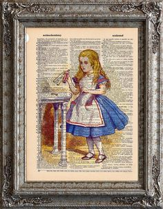 EcoCycled Alice in Wonderland print on an upcycled vintage book page. Love these!