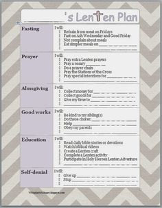 With a Faithful Heart: FREE PRINTABLE Lenten Planner for Kids, and ideas for Lent with kids