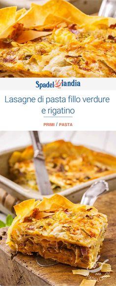 Lasagne di pasta fillo verdure e rigatino Pasta Fillo, Ricotta, Feta, Ethnic Recipes, Oven, Gastronomia, Lasagna