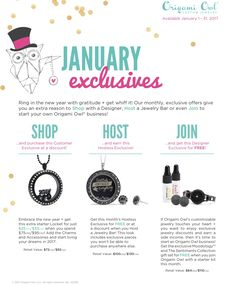 Origami Owl. Exclusive gifts for January 2017! www.CharmingLocketsByAline.OrigamiOwl.com