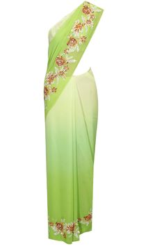 Lime green wool embroidered saree with lime green rose print blouse available only at Pernia's Pop Up Shop.