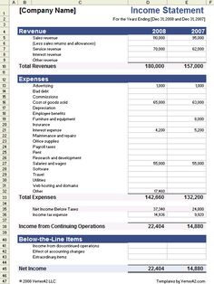 download the income statement template from vertex42com