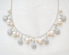 Wedding Necklace Bridal Necklace Pearl Cluster by SarahWalshBridal