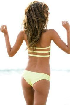 efd1acae2e yellow strappy  bikini  beach Yellow Bikini