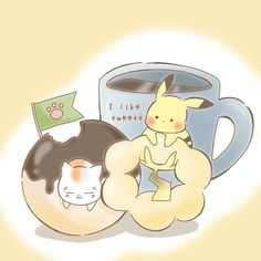 Pokemon, Pikachu, Natsume Yuujinchou, Cute Birds, Cute Art, Neko, Crossover, Friends, Cats